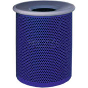 "Metal Waste Container W/Gray Aluminum Funnel Lid, 22"" Dia. X 28"" Blue"