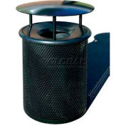 "Metal Waste Container W/Gray Aluminum Funnel Lid & Rain Hood - 22"" Dia. X 39"" Black"