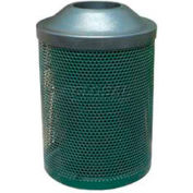 "Metal Waste Container W/Blue Plastic Lid, 22"" Dia. X 33"" Blue"