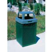 "Metal Waste Container W/Gray Plastic 4 Way Lid, 19-1/2"" Sq. X 40"" Black"