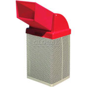"Metal Waste Container W/Red Plastic Drive Thru Lid, 19-1/2"" Sq. X 42"" Black"
