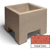 Wausau SL400 Square Outdoor Planter - Weatherstone Brick Red 18x18x15