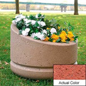 Wausau SL4011 Round Outdoor Planter - Weatherstone Brick Red 24x18