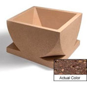 Wausau WS107 Square Outdoor Planter - Weatherstone Brown 30x30x18