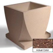 Wausau WS108 Square Outdoor Planter - Weatherstone Brown 30x30x30