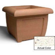 Wausau SL407 Square Outdoor Planter - Weatherstone White 38x38x30