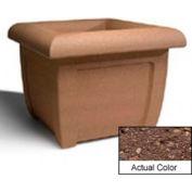 Wausau SL407 Square Outdoor Planter - Weatherstone Brown 38x38x30