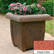 Wausau SL4071 Square Outdoor Planter - Weatherstone Brick Red 20x20x20