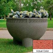Wausau SL412 Round Outdoor Planter - Weatherstone Brick Red 36x24