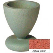 Wausau SL445 Round Outdoor Planter - Weatherstone Brick Red 24x29-1/2