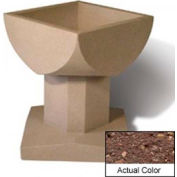 Wausau SL475 Square Outdoor Planter - Weatherstone Brown 33-1/2x33-1/2x30