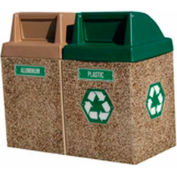 "Concrete 2-Bin Recycle Unit W/Green Push Door Lid, 50"" X 25"" X 46"" Gray/Tan, Trash/Plastic"
