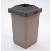 """Concrete Waste Receptacle W/Blue Pitch In Lid, 20"""" X 20"""" Gray/Tan"""
