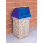 "Concrete Waste Receptacle W/Blue Push Door Lid, 20"" X 20"" Tan"