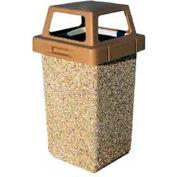 "Concrete Waste Receptacle W/Gray 4 Way Top - 20"" X 20"" Tan"