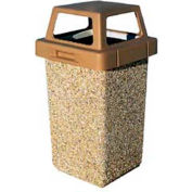 "Concrete Waste Receptacle W/Brown 4 Way Top - 20"" X 20"" Gray/Tan"
