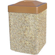 """Concrete Waste Receptacle W/Brown Plastic Pitch In Top - 25"""" X 25"""" Tan"""