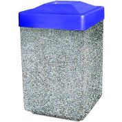 """Concrete Waste Receptacle W/Blue Plastic Pitch In Top - 25"""" X 25"""" Gray"""