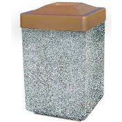 """Concrete Waste Receptacle W/Brown Plastic Pitch In Top - 25"""" X 25"""" Gray"""