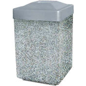 "Concrete Waste Receptacle W/Gray Plastic Pitch In Top - 25"" X 25"" Gray"