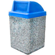 "Concrete Waste Receptacle W/Blue Push Door Top - 25"" X 25"" Gray"