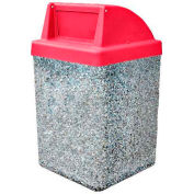"Concrete Waste Receptacle W/Red Push Door Top - 25"" X 25"" Gray"