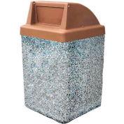 """Concrete Waste Receptacle W/Brown Push Door Top - 25"""" X 25"""" Gray"""