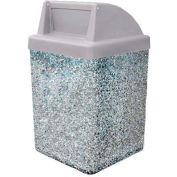 "Concrete Waste Receptacle W/Gray Push Door Top - 25"" X 25"" Gray"