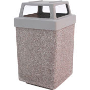 "Concrete Waste Receptacle W/Gray Plastic 4 Way Top - 25"" X 25"" Gray"