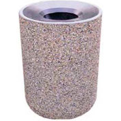 """Concrete Waste Receptacle W/Black Aluminum Pitch In Top - 24"""" Dia x 33"""" Sand"""