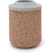 """Concrete Waste Receptacle W/Gray Plastic Pitch In Top - 26"""" Dia x 37"""" Tan"""