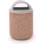 "Concrete Waste Receptacle W/Gray Plastic Dome Top Lid, 26"" Dia x 44"" Tan"