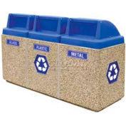 """Concrete 3-Bin Recycle Unit W/Blue Push Door Lid, 75"""" X 25"""" X 47"""" Tan, Trash/Bottles & Cans/Paper"""