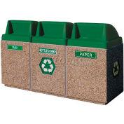 "Concrete 3-Bin Recycle Unit W/Green Push Door Lid, 75"" X 25"" X 47"" Tan, Trash/Bottles & Cans/Paper"