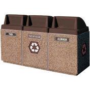 "Concrete 3-Bin Recycle Unit W/Brown Push Door Lid, 75"" X 25"" X 47"" Tan, Trash/Plastic/Aluminum"