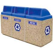 """Concrete 3-Bin Recycle Unit W/Blue Push Door Lid, 75"""" X 25"""" X 47"""" Gray, Trash/Bottles & Cans/Paper"""