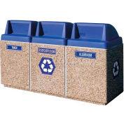 "Concrete 3-Bin Recycle Unit W/Blue Push Door Lid, 75"" X 25"" X 47"" Gray, Trash/Plastic/Aluminum"