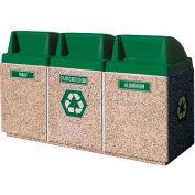 "Concrete 3-Bin Recycle Unit W/Green Push Door Lid, 75"" X 25"" X 47"" Gray, Trash/Plastic/Aluminum"