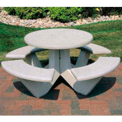 """Wausau Tile 66"""" Concrete Round Picnic Table, Misty Gray"""