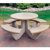 "Wausau Tile 66"" Concrete Round Picnic Table, Sand"