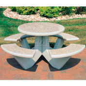 "Wausau Tile 66"" Concrete Round Picnic Table, Gray"