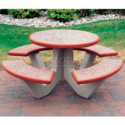 """Wausau Tile 66"""" Concrete Round Picnic Table, Brick Red w/Sand Legs"""