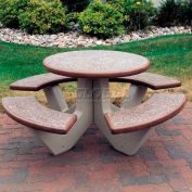 "Wausau Tile 66"" Concrete Round Picnic Table, Brown"