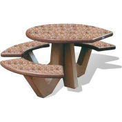 "Wausau Tile 66"" ADA Compliant Concrete Oval Picnic Table, Brown"