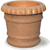 Wausau TF4037 Round Outdoor Planter - Smooth Stained Brick Red 27x24