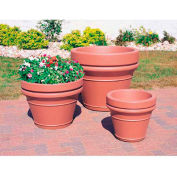 Wausau TF4041 Round Outdoor Planter - Smooth Stained Brown 28x22