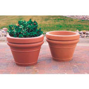 Wausau TF4043 Round Outdoor Planter - Smooth Stained Brown 20x18