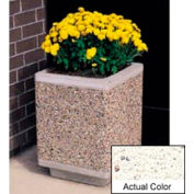 Wausau TF4185 Square Outdoor Planter - Weatherstone White 18x18x24