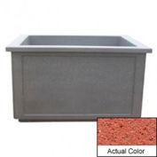 Wausau TF4208 Rectangular Outdoor Planter - Weatherstone Brick Red 60x52x36