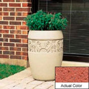 Wausau TF4219 Round Outdoor Planter - Weatherstone Brick Red 18x25